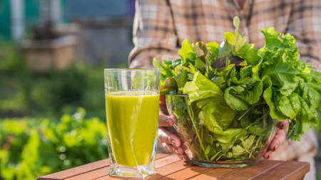 A woman holds a glass of green smoothie and a plate of lettuce. Healthy eating and diet 免版税图像
