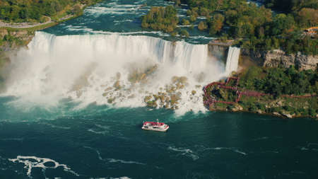 Aerial view of famous Niagara River and Niagara Falls