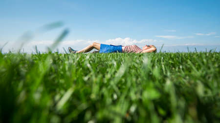 Green lawn against the blue sky, a woman lies in the distance, enjoys outdoor recreation