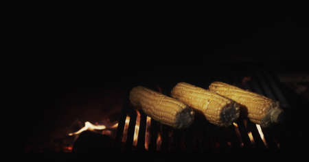 Cooking on an open fire - delicious corn is fried on a hot grill in the grill