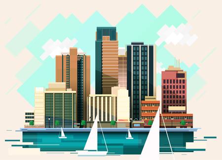 Modern Flat City Illustration