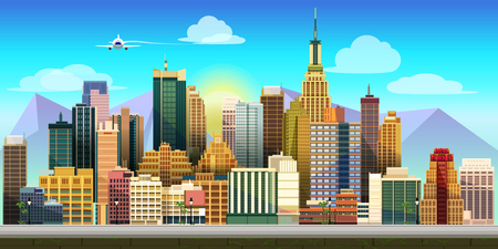 2d wallpaper: city ??Game Background background 2d game application. Vector design. Tileable horizontally. Size 1024x512.