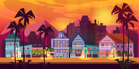 urban background: Night city Game Background background 2d game application. Vector design. Tileable horizontally. Size 1024x512.