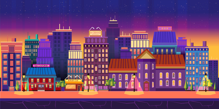 moon  metropolis: Night city Game Background background 2d game application. Vector design. Tileable horizontally. Size 1024x512.