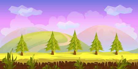 scroller: Forest Game Background background 2d game application. Vector design. Tileable horizontally. Size 1024x512.
