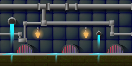 underworld: Canalization Game Background background 2d game application. Vector design. Tileable horizontally. Size 1024x512.