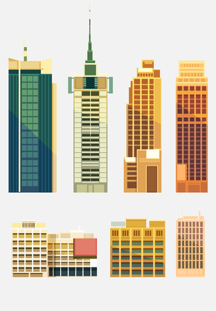 small business woman: Set of buildings in the style of small business flat design. Illustration