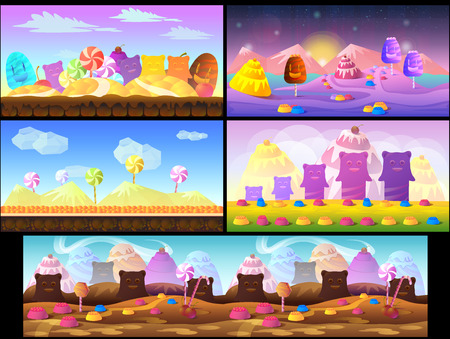 family outside house: Candy game background 2d game application. Vector design.