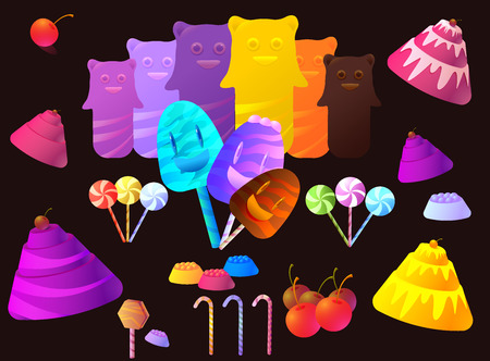 jellybean: Sweet Candy and Elements Set  Vector Collection