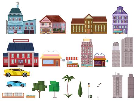 都市要素のセットは、ベクトル イラスト。簡単に色を変更するオブジェクトを組み合わせて独自の都市景観を作成できます。