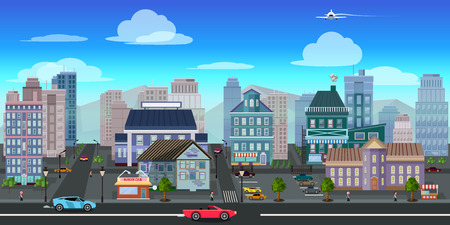 scroller: city game background 2d game application. Vector design.