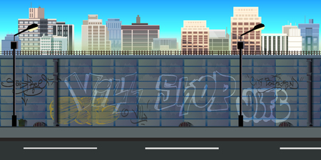 horizontally: city game background 2d game application. Tileable horizontally.