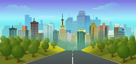 road to city landscape, illustration