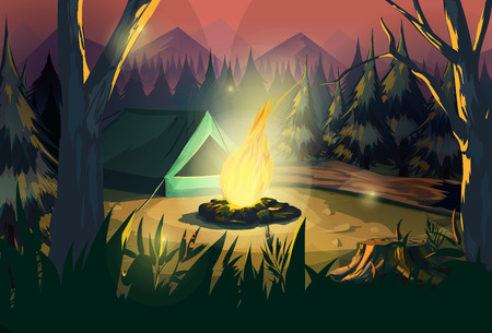 Illustration of a campfire in a dark forest