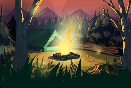dark forest: Illustration of a campfire in a dark forest