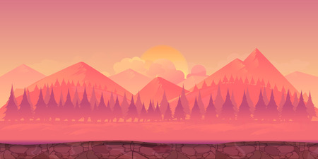 smoky mountains: Mountains background 2d game application. Tileable horizontally. Size 1024x512. Ready for parallax effect