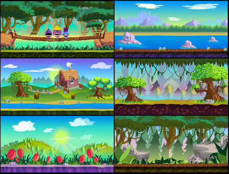Game Asset ,Cartoon Game Backgrounds Set for 2d game application. Vector design. Illustration