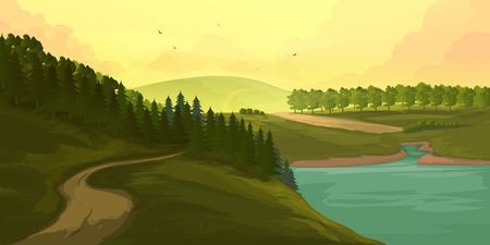 rockies: Vector Background with Mountains and Forest nature illustration Illustration