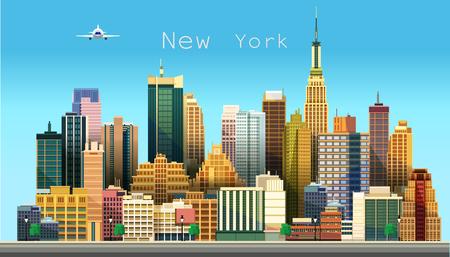 New York city. Stylized vector illustration of a city Stock Photo