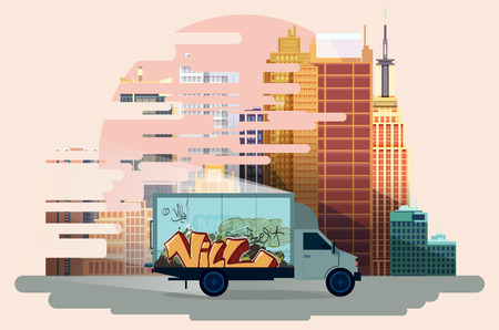 city view: city traffic, urban view background. vector illustration Stock Photo
