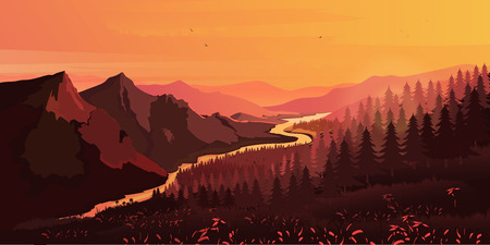 ascending: Landscape. Mountains, ascending or a sitting down sun , vector illustration