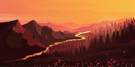 moutain: Landscape. Mountains, ascending or a sitting down sun , vector illustration