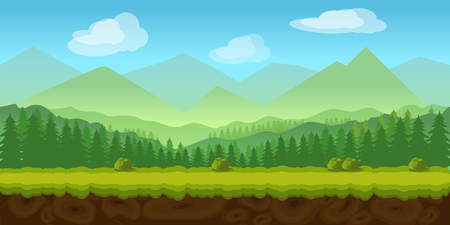 forest game background 2d game application. Vector design. Tileable horizontally. Size 1024x512. Ready for parallax effect Ilustração