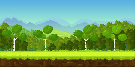 screenshot: game background 2d game application. Vector design. Tileable horizontally. Size 1024x512. Ready for parallax effect Illustration