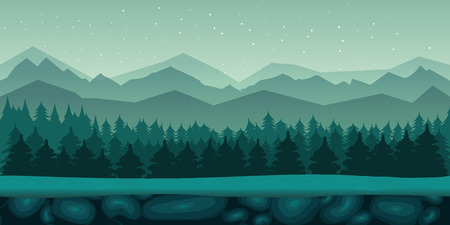 tileable: game background 2d game application. Vector design. Tileable horizontally. Size 1024x512. Ready for parallax effect Illustration