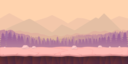 scroller: game background 2d game application. Vector design. Tileable horizontally. Size 1024x512. Ready for parallax effect Illustration