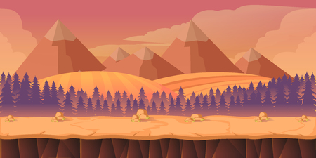 scroller: forest game background 2d game application. Vector design. Tileable horizontally. Size 1024x512. Ready for parallax effect Illustration