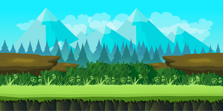 Cartoon seamless nature landscape, sunny day vector illustration, funny unending background with separated layers for game design