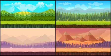 Game backgrounds Vector seamless set, 2d game application. Vector design. Tileable horizontally. Size 1024x512. Ready for parallax effect Illustration