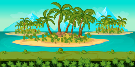 scroller: Seamless cartoon beach landscape, vector background with separated layers for game.