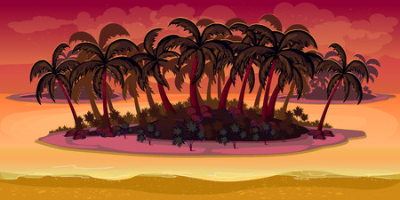 2d wallpaper: Seamless cartoon beach landscape, vector unending background with separated layers for game. Illustration