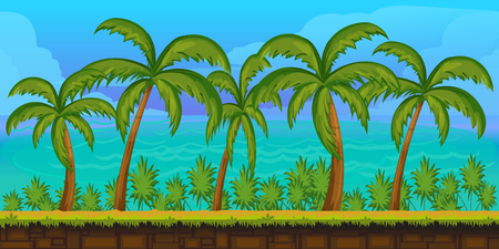 Seamless cartoon tropical landscape, unending background for game,1024x512