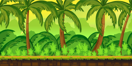 rock layer: Jungles Landscape For UI Game  Illustration of a cartoon seamless summer tropical Jungles background with palm and sea.1024x512