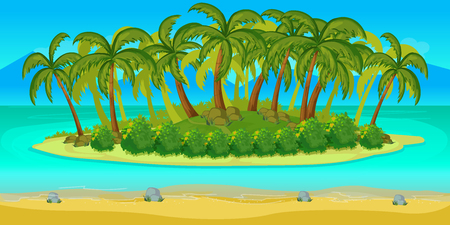2d wallpaper: Island Game landscape, vector unending background with separated layers. for game. Illustration