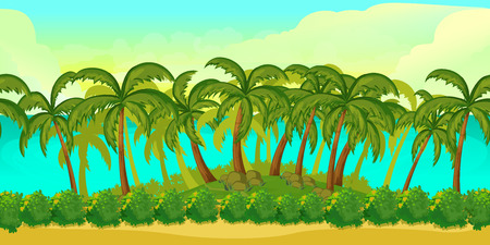 unending: Seamless cartoon tropical landscape, unending background for game,1024x512