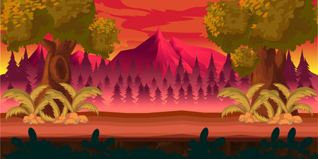 game background 2d game application. Vector design. Tileable horizontally. Size 1024x512. Ready for parallax effect Illustration