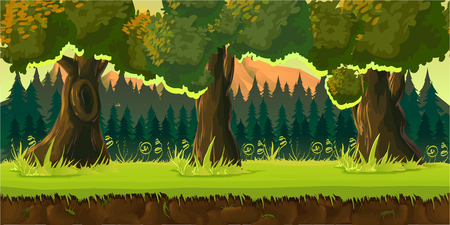forest game background 2d game application. Vector design. Tileable horizontally. Size 1024x512. Ready for parallax effect Ilustrace
