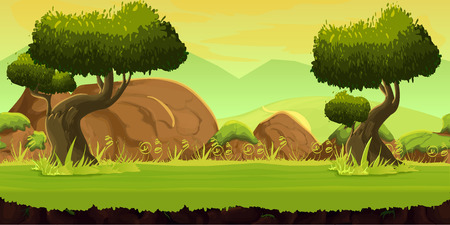 forest game background 2d game application. Vector design. Tileable horizontally. Size 1024x512. Ready for parallax effect 向量圖像