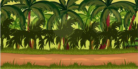 Jungles Contexte de jeu pour l'application de jeu 2d. Vector design. Tileable horizontalement. Taille 1024x512.