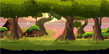 horizontally: forest game background 2d game application. Vector design. Tileable horizontally. Size 1024x512. Ready for parallax effect Illustration