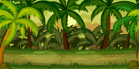 forest landscape, never ending vector nature background with separated layers for game design