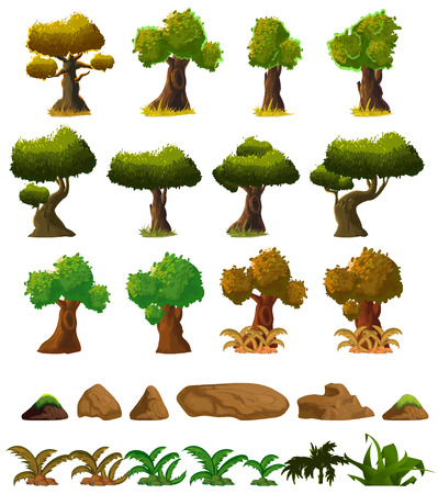 grass isolated: Cartoon nature landscape elements set, trees, stones and grass clip art, isolated on white