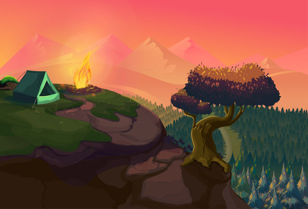 hilltop: A poster showing a campsite with a campfire. Vector Illustration for your application , project.