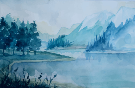 painted background: watercolor vector landscape. Illustration are drawn by hand and vectorized.