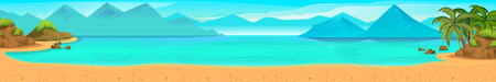 Sea panorama. tropical beach. Vector Background for your application , project