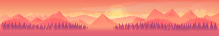 Mountains and forest, nature landscape, vector background for your application , project Illustration
